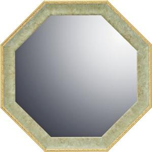 インテリア 開運鏡 壁掛け ヴィンテージ八角ミラー「グリーン(Mサイズ)」|touo