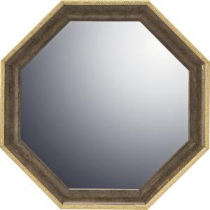 インテリア 開運鏡 壁掛け ヴィンテージ八角ミラー「ブラウン(Mサイズ)」|touo