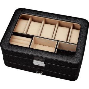 インテリア 小物入れ ウォッチ コレクション ボックス 5ウォッチ&ジュエル(ブラック)|touo