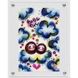 絵画 インテリア アートポスター 壁掛け (額縁 アートフレーム付き)付 わだの めぐみ「HAPPY DAY」|touo