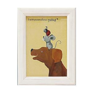絵画 インテリア アートポスター 壁掛け (額縁 アートフレーム付き) 武内 祐人「イヌとネズミとテントウ」|touo