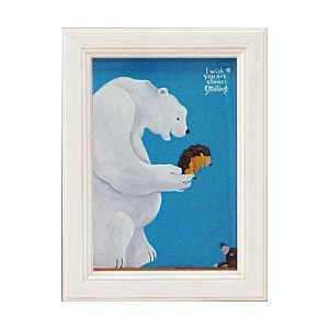 絵画 インテリア アートポスター 壁掛け (額縁 アートフレーム付き) 武内 祐人「シロクマとハリネズミ」|touo