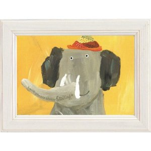 絵画 インテリア アートポスター 壁掛け (額縁 アートフレーム付き) 武内 祐人「ゾウ」|touo