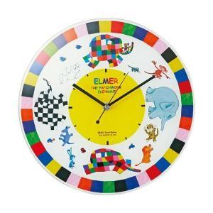 インテリア小物 掛け時計 ぞうのエルマー ガラスウォールクロック|touo