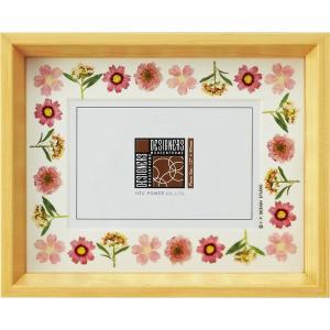デザイナーズ 木製フレームフォトフレーム「ピンク アレンジ (ナチュラル) 1ウィンドー」|touo
