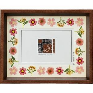 デザイナーズ 木製フレームフォトフレーム「ピンク アレンジ (ブラウン) 1ウィンドー」|touo