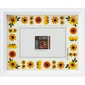 デザイナーズ 木製フレームフォトフレーム「イエロー アレンジ (ホワイト) 1ウィンドー」|touo
