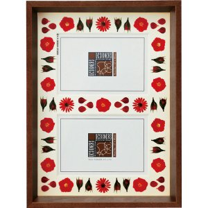 デザイナーズ 木製フレームフォトフレーム「レッド アレンジ (ブラウン) 2ウィンドー」|touo
