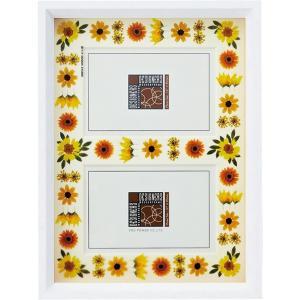 デザイナーズ 木製フレームフォトフレーム「イエロー アレンジ (ホワイト) 2ウィンドー」|touo