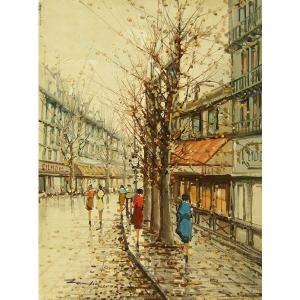 ヨーロッパ絵画 油絵 肉筆絵画 壁掛け (額縁 アートフレーム付きで納品対応可) サイズF6号 ザンピーニ作 「パリの街角」|touo