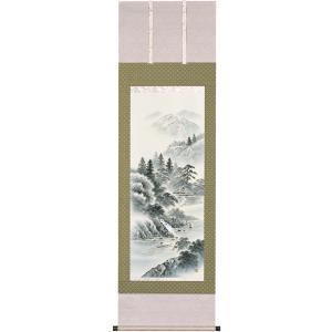 掛軸 日本の伝統と文化 掛軸 水墨山水(年中) 上田林外作 尺五立 床の間 日本画 山水 やすらぎ 招福 |towakouribu