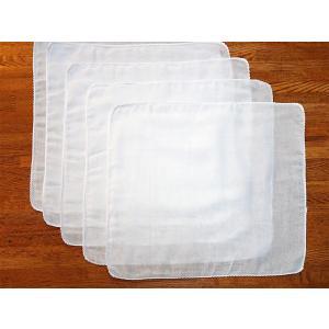 【当日発送】[ゴム紐購入可]ダブルガーゼ ハンカチ 白 5枚セット【送料込】|towel-agatsuma