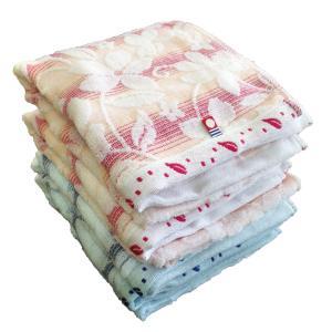 2018新作 今治タオル グラデーションフラワー フェイスタオル 4枚セット (ブルー2枚・ピンク2枚) 送料無料 towel-en