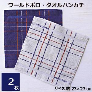 ワールドポロ タオルハンカチ 2枚セット ハンカチタオル ハンドタオル チェック 男性 紳士 メンズ 消臭 まとめ買い グレー ネイビー H053 towel01