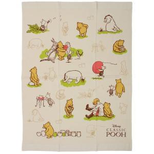お昼寝 タオルケット ディズニー クラシックプー フレンド 片面ガーゼ マルチタオル 約85×115cm|towelmall