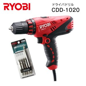 RYOBI(リョービ) 電動ドライバードリル ドライバドリル 電動工具・DIYツール CDD-1020+ビットセット|townmall