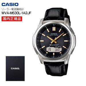 カシオ 本革バンド ウェーブセプター(wave ceptor) ソーラー電波腕時計(CASIO) カーフレザー メンズ アナログウォッチ WVA-M630L-1A2JF|townmall