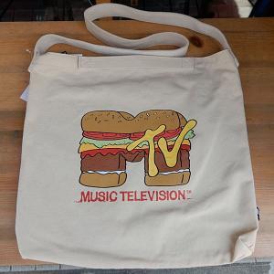 MTV BURGER SHOULDER TOTEBAG★MTVキャンバスショルダーバッグ 生成色|toy-burger