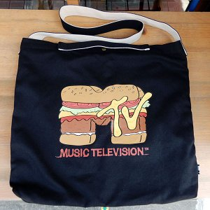 MTV BURGER SHOULDER TOTEBAG★MTVキャンバスショルダーバッグ ブラック|toy-burger