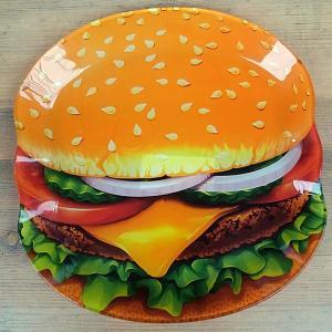 GLASS FARMER PLATE HAMBURGER★ガラスプレート ハンバーガー|toy-burger