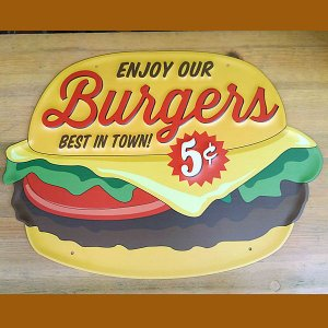 TIN PLATE BIG HAMBURGER★ブリキ看板 ビッグ ハンバーガー|toy-burger
