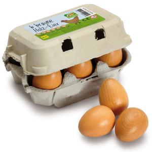 Erzi(エルツィ)木製ままごと『卵パック茶色(6個)』Eggs, brown sixpack