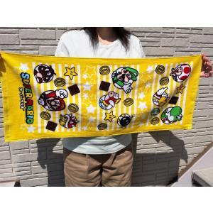 【メール便OK!】 スーパーマリオ (イエロースターライン) フェイスタオル toy-time