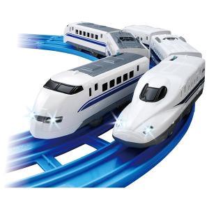 プラレール ライト付 パパとぼくの300系&N700typeAのぞみダブルセット 電車のおもちゃ 3歳 4歳 5歳 タカラトミー|toylandclover