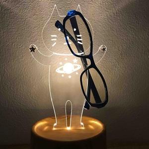アクセサリースタンド メガネスタンドシリーズ ネコ型ライト 音感センサー LEDライト付き 電気スタンド ネコグッズ アクリスタ ネコ2 プレゼント toyocase-store 05