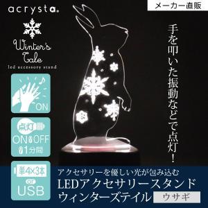 アクセサリースタンド メガネスタンド  ピアス掛け LEDライト ウサギ 雪の結晶 音感センサー 電池式 USB ベッドサイド アクリスタ プレゼント 96106|toyocase-store