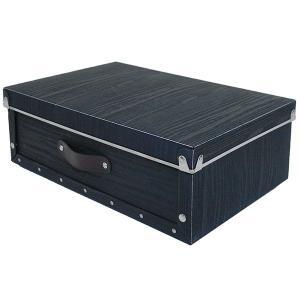 水や汚れに強い 収納ボックス ベッド下 折りたたみ可能 浅型 蓋つき ポリプロピレン製 アンティークスタイルモジュールボックス  ブラック メーカー直販|toyocase-store