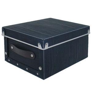 収納ボックス 小物 衣類 収納ケース ベッド下 折りたたみ 蓋つき ポリプロピレン製 アンティークスタイルモジュールボックス ブラック 浅型|toyocase-store
