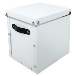 水や汚れに強い収納ボックス 折りたたみ可能 縦型 蓋つき ポリプロピレン製 アンティークスタイルモジュールボックス ホワイト メーカー直販|toyocase-store
