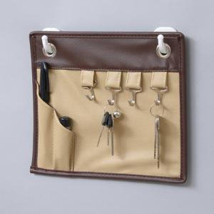 ウォールポケット キーフック マグネット 玄関 ブラウン|toyocase-store