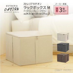 収納ケース ESTRARIA ストレリアカチオン ラックボックス Mサイズ 同色3個セット 全3色 toyocase-store