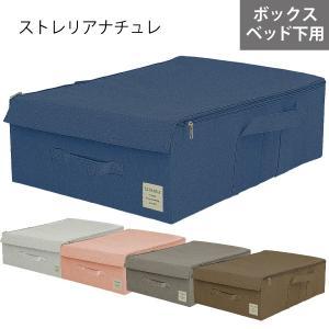 ベッド下収納 布製 折りたたみ可能 蓋つき ファスナー付き ストレリアナチュレ ボックスUB ブルー メーカー直販 toyocase-store