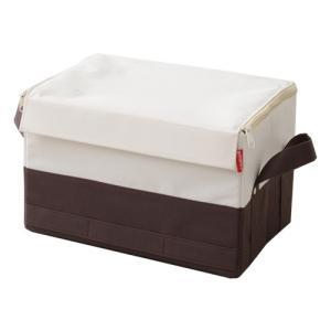 収納ボックス 衣類収納 メタルラック 蓋つき ツートンカラー ストレリアプラス ラックボックスM  アイボリーブラウン|toyocase-store