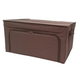 収納ケース 衣類収納 前開き 棚 ラック 上置き ファスナー フラップボックス2 Lサイズ ダークブラウン|toyocase-store