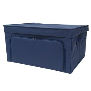 収納ケース 衣類収納 前開き 棚 ラック 上置き ファスナー フラップボックス2 Lサイズ ネイビー|toyocase-store