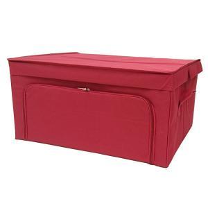 収納ケース 衣類収納 前開き 棚 ラック 上置き ファスナー フラップボックス2 Lサイズ レッド|toyocase-store
