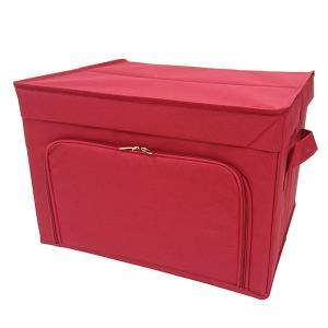 収納ケース 衣類収納 前開き 棚 ラック 上置き ファスナー フラップボックス2 Mサイズ レッド|toyocase-store