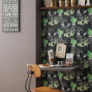 ウォールデコレーション はがせる シールタイプ 簡単 プチリフォーム カフェ風 壁紙 KABEDECO カベデコ ブラックボード リーフ  2.5m メーカー直販|toyocase-store