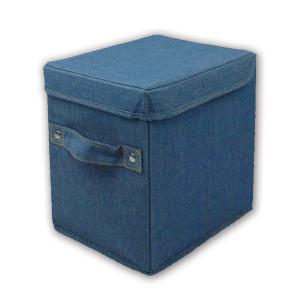 カラーボックス用ハーフサイ収納ボックス 蓋つき デニム調ライトブルー L.S.M.デニム メーカー直販|toyocase-store