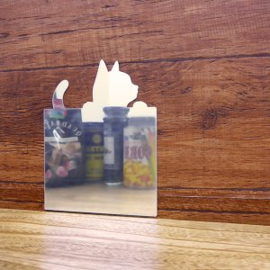 ウォールミラー 猫 ウォールステッカー 粘着テープ 壁面 貼り付け アクリル製ミラー トイレ鏡 インテリア鏡 ネコグッズ ココニモミラー 角形 ネコ 94089 toyocase-store 02