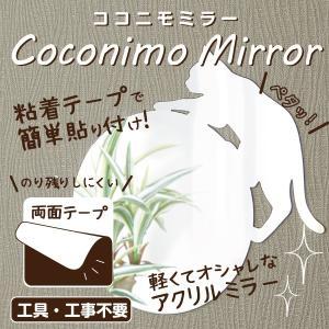 ウォールステッカー 猫 鏡 貼り付け  粘着テープ 壁面 アクリル製ミラー ココニモミラー 丸形 ネコ 94096 メーカー直販|toyocase-store