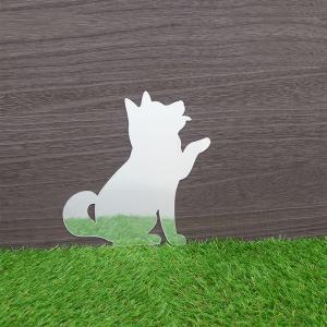 ウォールステッカー 粘着テープ 鏡 壁面 貼り付け アクリル製ミラー トイレ鏡 インテリア鏡 ココニモミラー シルエット 柴犬 メーカー直販 94140|toyocase-store|02
