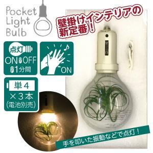 壁掛け灯 壁面装飾 フェイクグリーン 電球モチーフ 音感センサー LEDライト 電池 ポケットライトバルブ ミルク 92047|toyocase-store