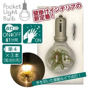 壁掛け灯 壁面装飾 フェイクグリーン 電球モチーフ 音感センサー LEDライト 電池 ポケットライトバルブ ブルーストーン 92078|toyocase-store