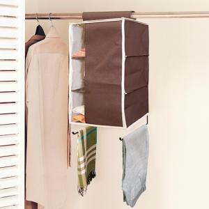 ハンギングラック3段 衣類収納 クローゼット収納 帽子収納 プラスワン ブラウン メーカー直販|toyocase-store