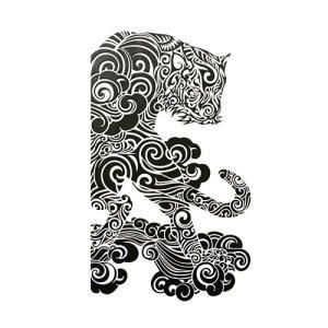 スマホ用デコシール 和柄ステッカー デコレーションステッカー 蒔絵シール 立体転写シール スマホトライブ 虎 黒|toyocase-store|02